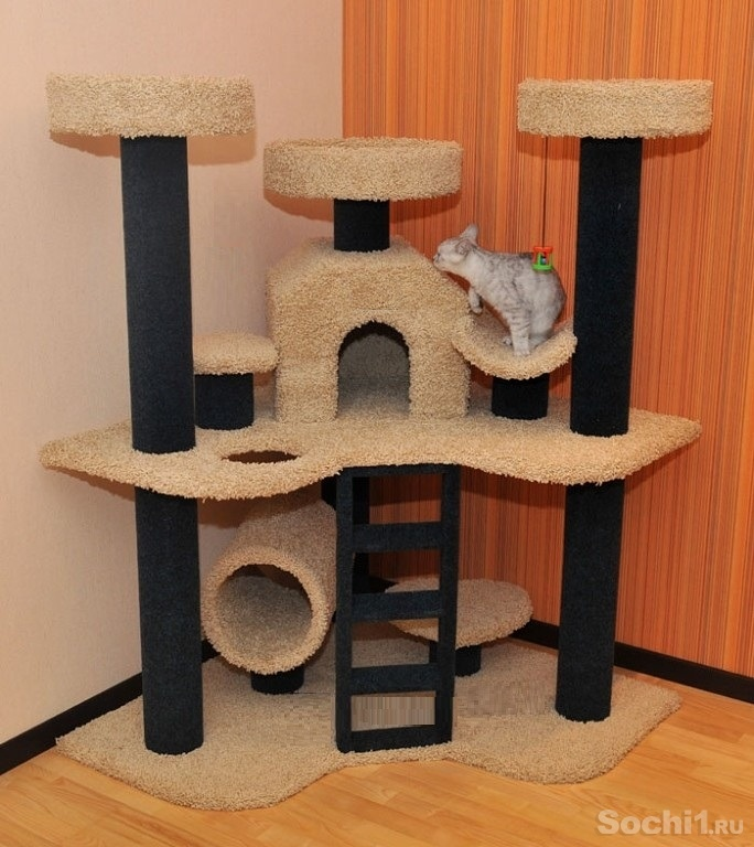 Многоуровневый кошачий домик своими руками 51