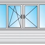 Балкон ПВХ Двустворчатые профиль 58мм стеклопакет 24мм, Сочи